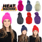 Heat Machine Ladies Self Colour Pom Pom Hat