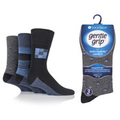 Mens Honeycomb Top Gentle Grip Socks Assorted Patterns
