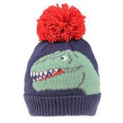 Boys Dinosaur Face Print Knitted Bobble Hat