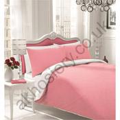 Reversible Bedding Sets Plain Pink/White