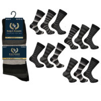 Mens 3 Pack Ralph Rossini Dark Stripe Socks