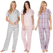 Ladies Woven Pyjama Set Assorted Designs