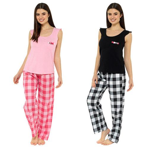 Ladies Ruffle Tie Top With Check Pant Pyjamas