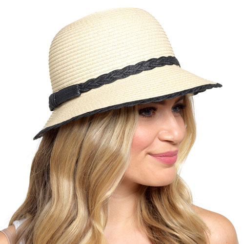 Ladies Straw Hat with Navy Trim and Bow