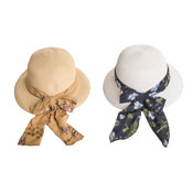 Ladies Straw Hat With Floral Scarf Band