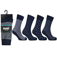 Mens 3 Pack Man Basic Navy Assorted Socks