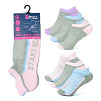 Ladies 3 Pack Slogan Trainer Socks