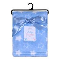 Baby Blanket Printed Stars Blue