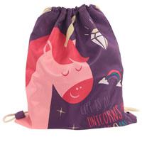 Enchanted Rainbows Unicorn Slogan Drawstring Bag