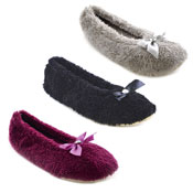 Ladies Soft Fleece Ballet Slippers With Diamante Dark