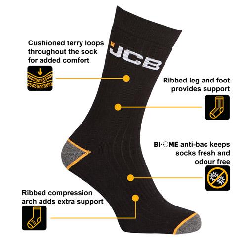 JCB 3 Pack Mens Outdoor Activity Sock 9-12