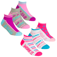 Girls 3 Pack Trainer Liner Socks Work It