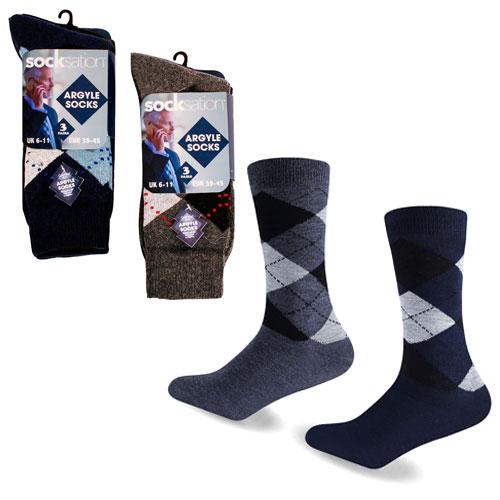 Mens Cotton Rich Argyle Socks