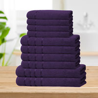 Bear & Panda 10 Piece Cotton Towel Bale Purple