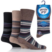 Mens Gentle Grip Socks Jack Stripe Natural