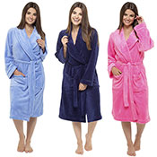 Ladies Coral Soft Fleece Dressing Gown Plain