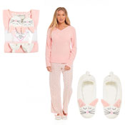 Ladies Cat Fleece Pyjama & Slippers Set Peach