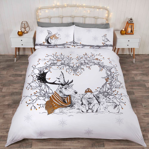 Christmas Duvet Set Forest Stag Gold
