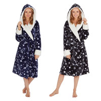 Ladies Star Hooded Print Gown