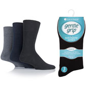 Mens Diabetic Gentle Grip Socks Black Navy Grey