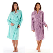 Ladies Spot Print Dressing Gown Robe With Embroidery Collar
