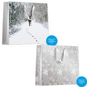Christmas Silver/Reindeer Design Luxury Gift Bag Medium