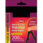 Silky 200 Denier Thermal Fleece Knee Highs Black