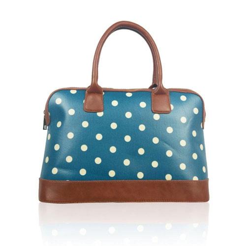 Polka Dot Design Handheld Handbag Blue