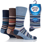 Mens Gentle Grip Socks Ollie Bold Stripe Casual