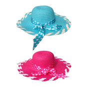 Ladies Summer Hat with Spotty Ribbon