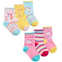 Baby Girls 3 Pack Rainbow And Unicorn Socks