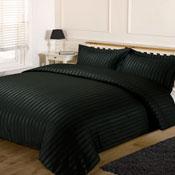 Satin Stripe Black Duvet Set