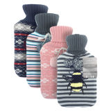 Hot Water Bottle With Trendy Print Knitted Cover