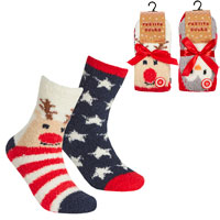 Ladies 2 Pack Xmas Cosy Socks With Grippers