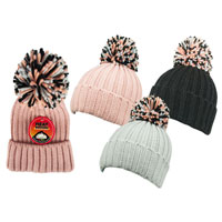 Childrens Heat Machine Pom Pom Hats Chunky Knit
