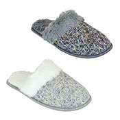 Ladies Textured Knitted Mule Slippers