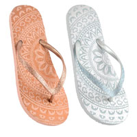 Ladies Mandala Print Flip Flops With Glitter Strap