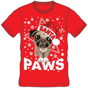 Christmas T-Shirt Red Santa Paws