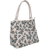 Butterfly Canvas Shopper Bag Large Pink