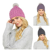 Ladies Cable Knitted Hat With Faux Pom Pom