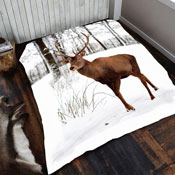 Mink Faux Fur Throw Winter Deer