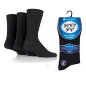 Mens Gentle Grip Socks Plain Black