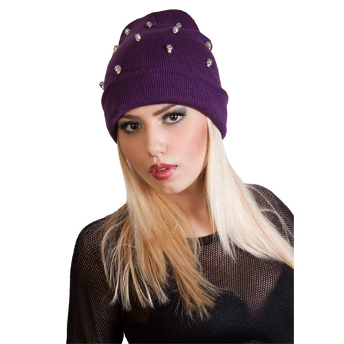 Slouch Beanie Hat with Skulls