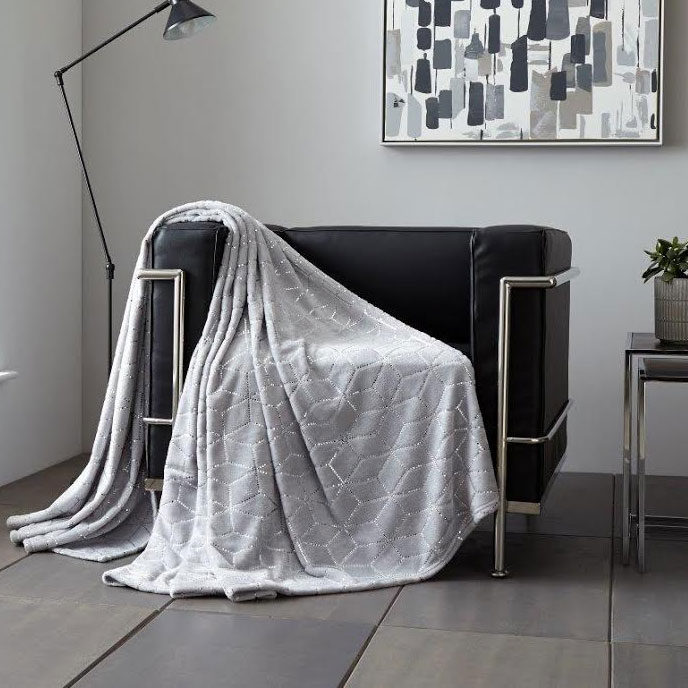 Metallic Cube Faux Mink Throw Silver