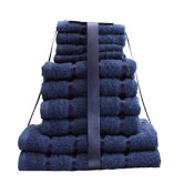 10 Piece Towel Navy Egyptian Cotton
