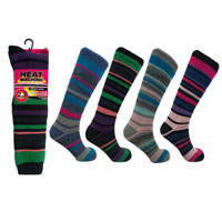 Ladies Heat Machine Long Thermal Socks Stripe 2.3 Tog