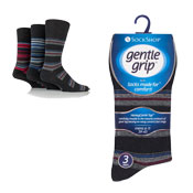 Mens Gentle Grip Assorted Stripes Patterns Socks