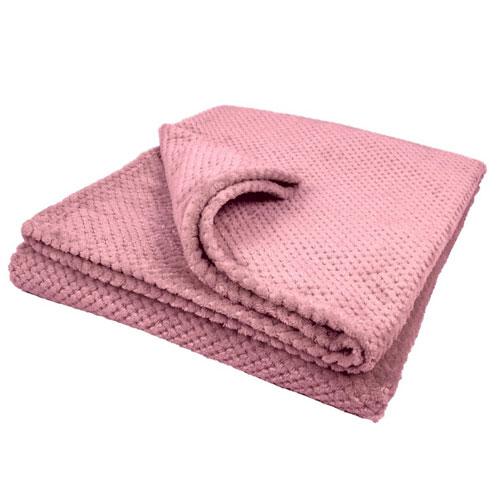 Bear & Panda Double Waffle Blanket Pink