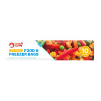 Slide And Lock Food And Freezer Bags Large 10 Pack