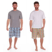 Mens Checked Style Lounge Shortie Set